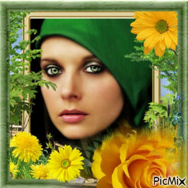 Femme,décor jaune et vert