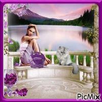 Femme en terrasse