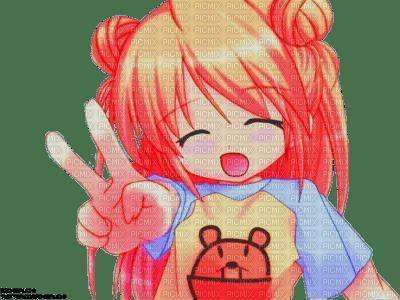 petite fille kawaii signe de la victoire manga orange picmix. Black Bedroom Furniture Sets. Home Design Ideas