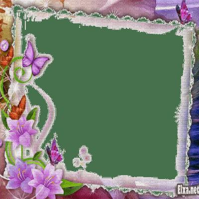 Purple Flower Frame Flower Frame Butterfly Picmix