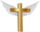 Kaz_Creations Easter Deco Gold Cross With Angel Wings