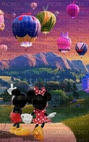 multicolore image encre montgolfière fantaisie ballon dirigeable arc de ciel Minnie Mickey Disney edited by me