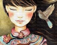 La jeune femme et l'oiseau