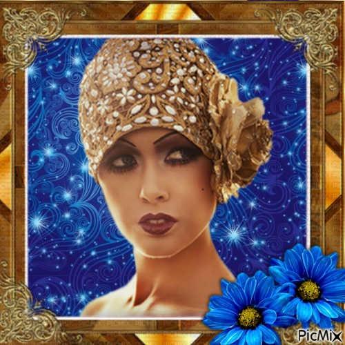 portrait de femme bleu et brun