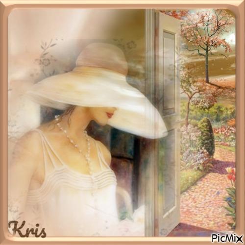 femme au chapeau / pastel / ❤️🌼