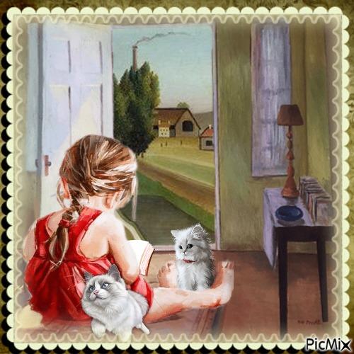 Kleines Mädchen und 2 weiße Kätzchen