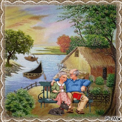 Ferienhaus am Fluss, pastorale Landschaft