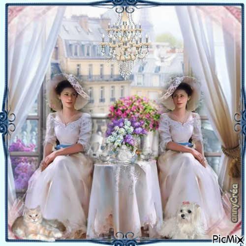 Les soeurs jumelles prennent le thé