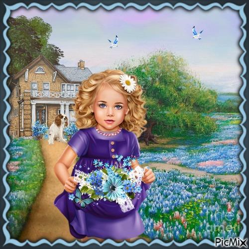 Kleines Mädchen mit blauen Blumen