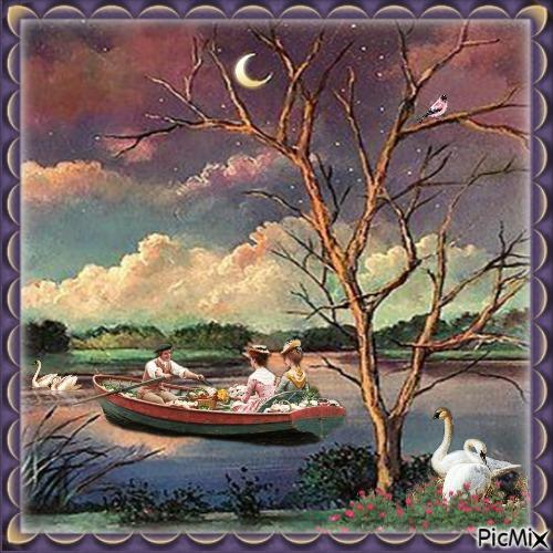 Abends am See mit einem Boot
