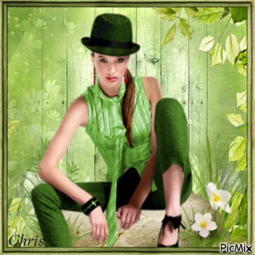 Habillée en vert