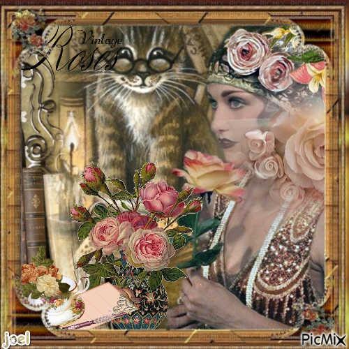 chat et belle dame vintage