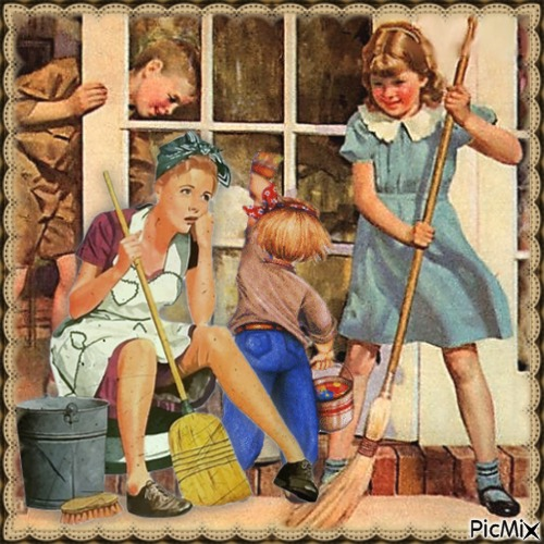 Kinder helfen beim Putzen