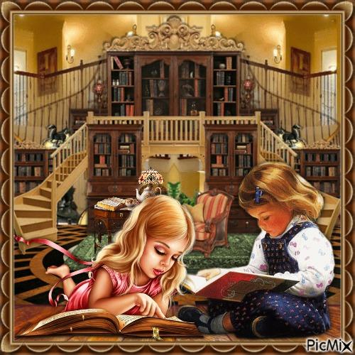 Zwei Kinder in einer Bibliothek