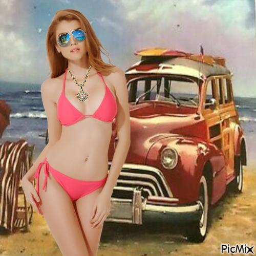 Summer girl and car