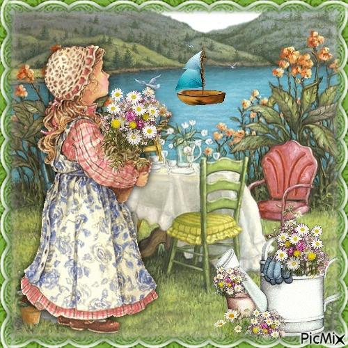 Ein Blumenmädchen (Kind)
