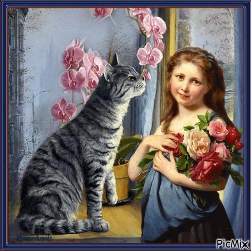 La petite fille et son chat.