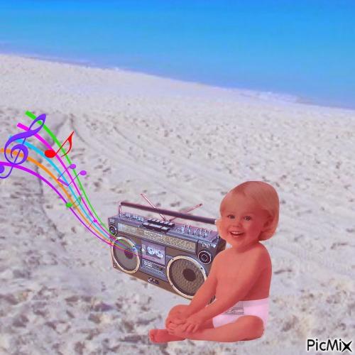 Baby with radio