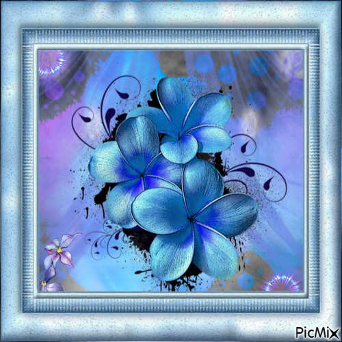 fleurs bleues chatoyantes