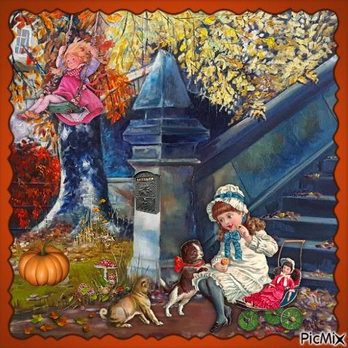 Fröhliche Herbstkreation mit Kindern und einem Tier