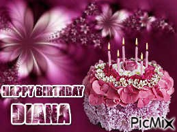 A HAPPY BIRTHDAY FOR MY FRIEND DIANA PRETTY MAUVE COLOR FLOWERS CAKE AND VERSE IN MATCHING COLORS