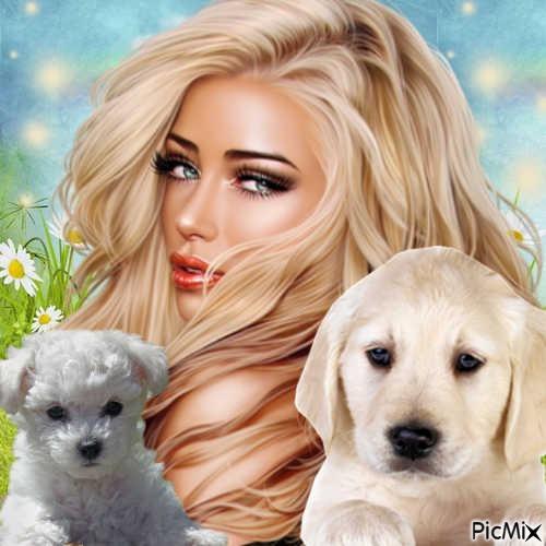 portrait  d'une femme avec ses chiens