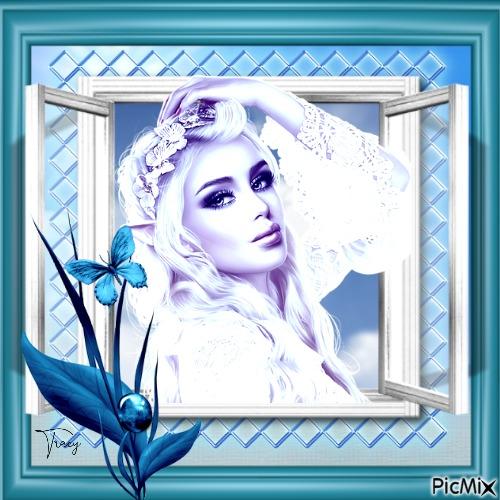 Blue woman elf portrait
