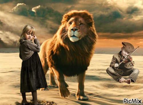 Enfants et lion