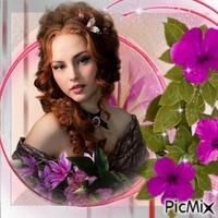 femme et fleurs roses