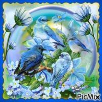 Blaue Vögel in einer Blase