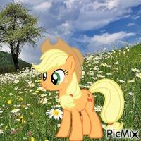 Applejack in a field of flowers