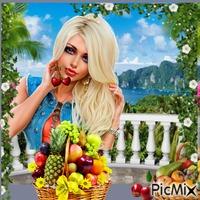 Donna  con Frutta