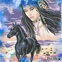 Indienne et cheval en aquarelle