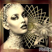 portrait noir et or
