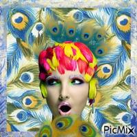 Portrait et plumes de paon