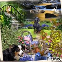 jardin un soir d'été avec animaux