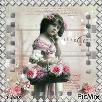 Vintage portrait de femme& rose