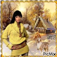 Portrait de femme en jaune