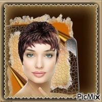 Frau kurze Haare blaue Augen