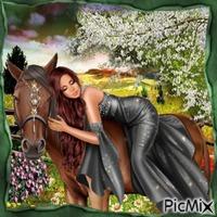 Femme et cheval.