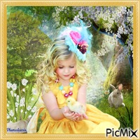 Petite fille habillée en jaune.
