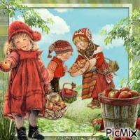 récolte enfantine de pommes