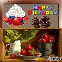 Happy Birthday. Strawberries and cake