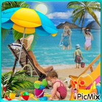 Vacances, soleil, mer, plage.