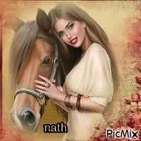 Femme et cheval,concours