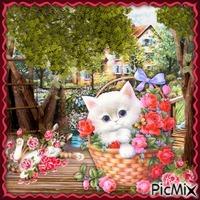 Süßes Kätzchen und Blumen