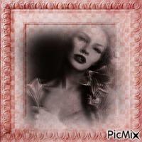 portrait en noir et rose