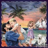 Porträt ein Vater mit seinen Kindern am Meer