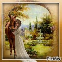 femme avec son cheval