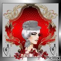 portrait en rouge et gris